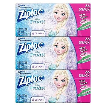 Ziploc Brand Snack Bags featuring Disney Frozen Designs, 66 ct, 3 pack