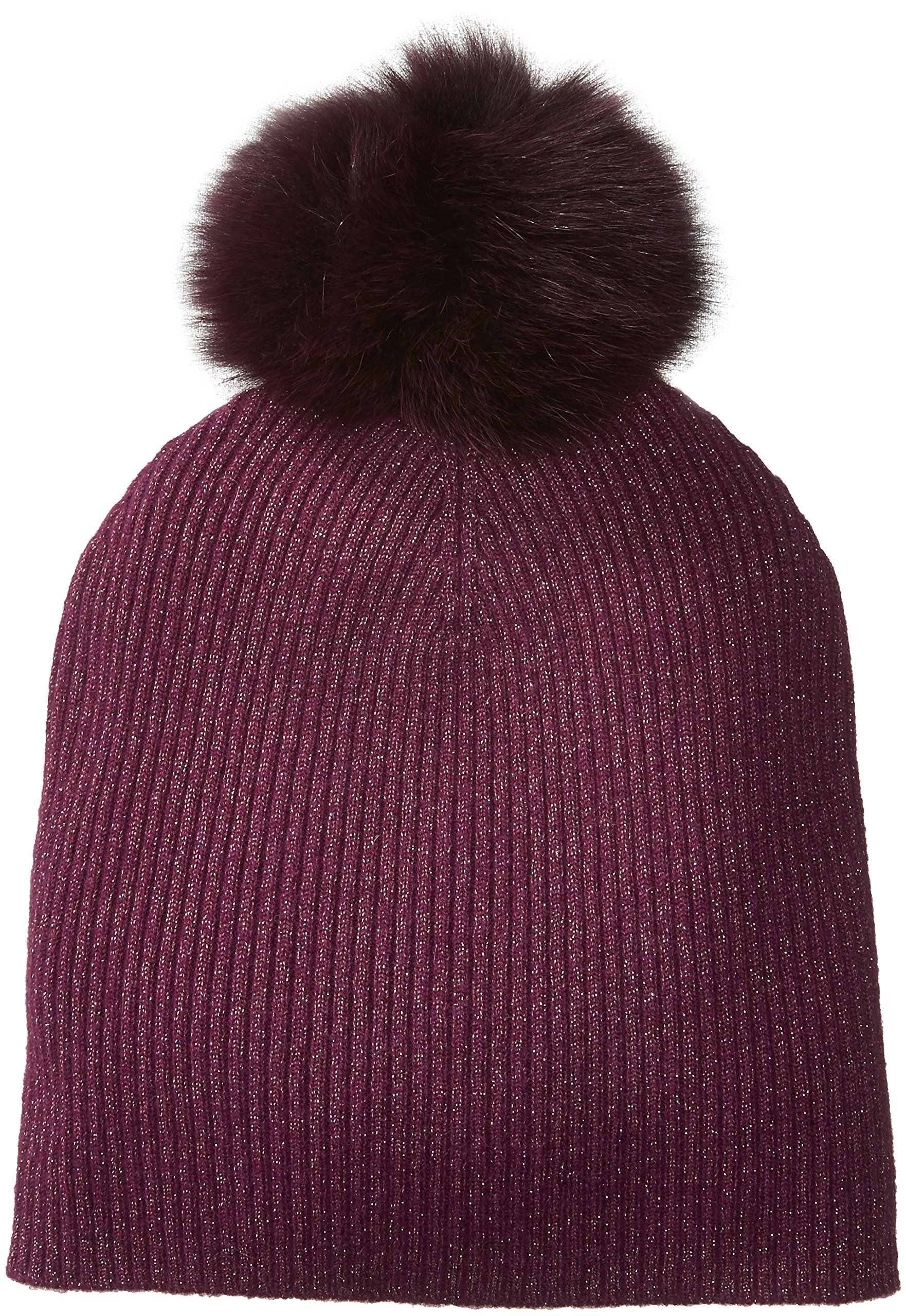 Sofia Cashmere Women's Cashmere Fur Pom Hat-Slouchy, Magic Berry + Gold Lurex/Plum, One by Sofia Cashmere