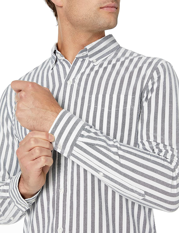 Goodthreads Mens Slim-fit Long-Sleeve Fashion Stripe Oxford Shirt Brand