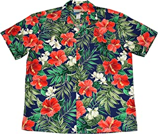 product image for Paradise Found Waimea Casuals Mens Ginger Hibiscus Shirt Royal Blue M