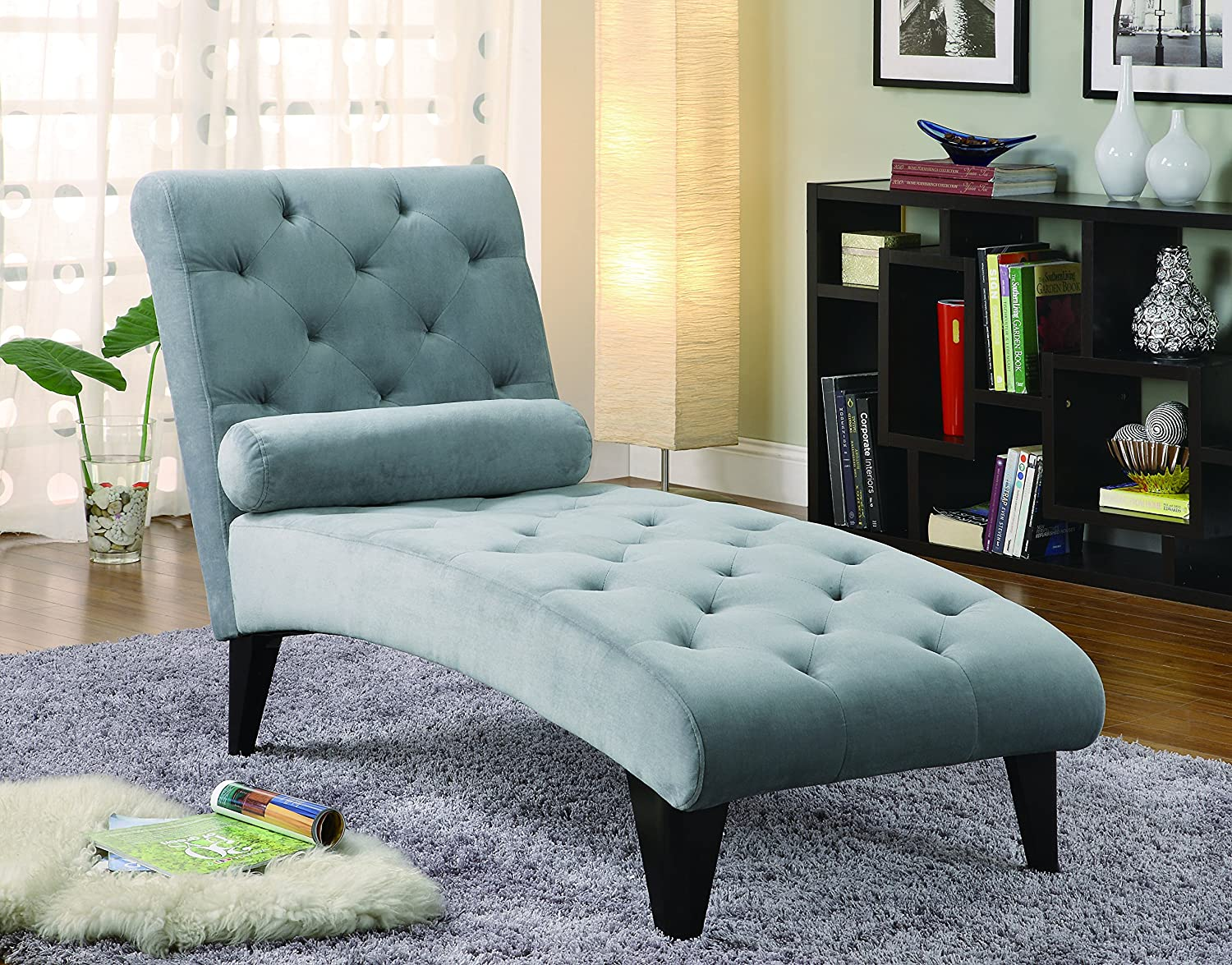 Coaster Chaise Lounge With Button Tufted Gray Velour Fabric In Black Finish