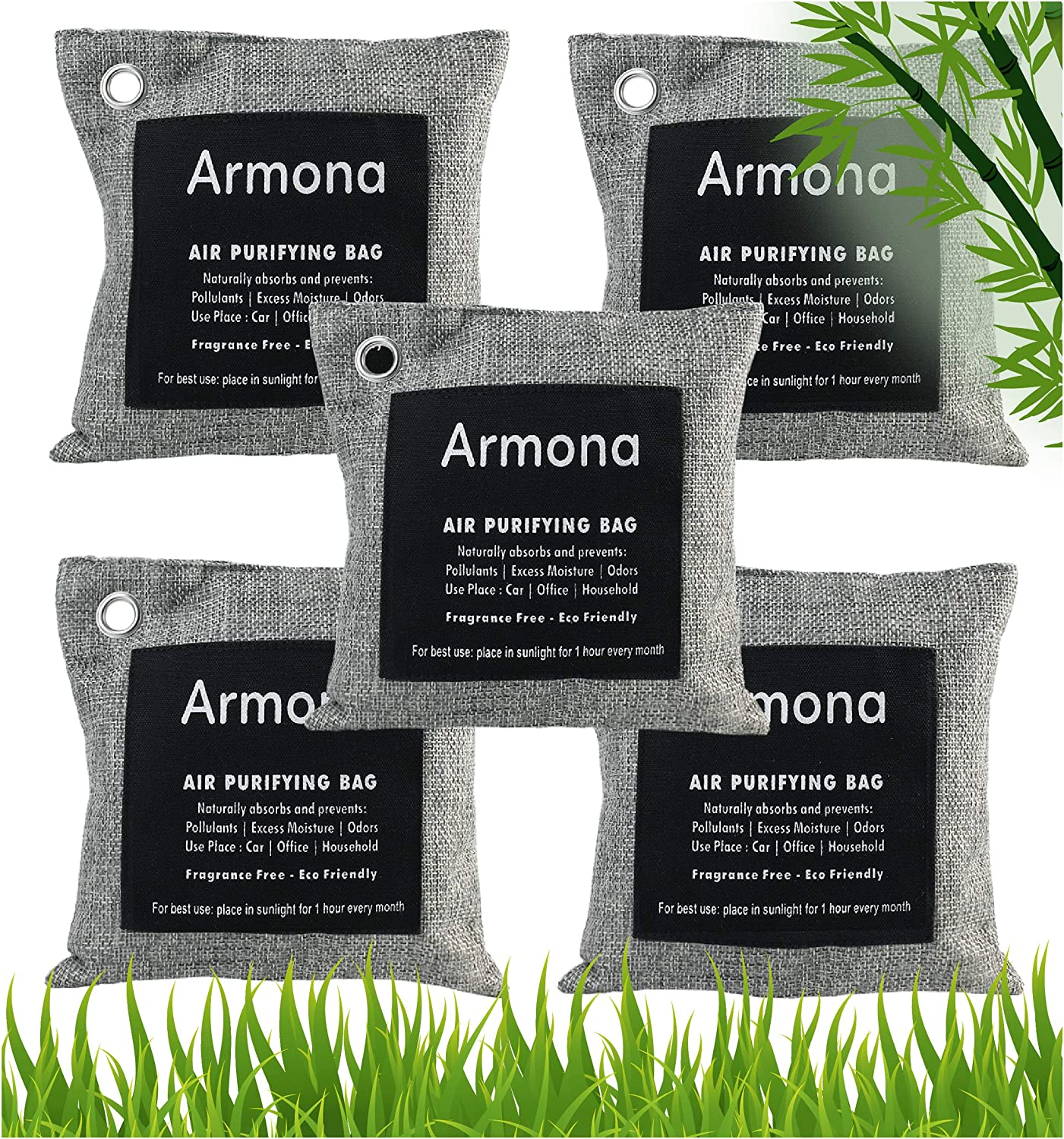 Charcoal Bags Odor Absorber- Activated Charcoal Air Purifying Bag - Charcoal Bags for Mold and Mildew- Charcoal Bags for Home, Shoe, Pets, Car - Bamboo Charcoal Bags with ring Hooks- 5 x 200 gm