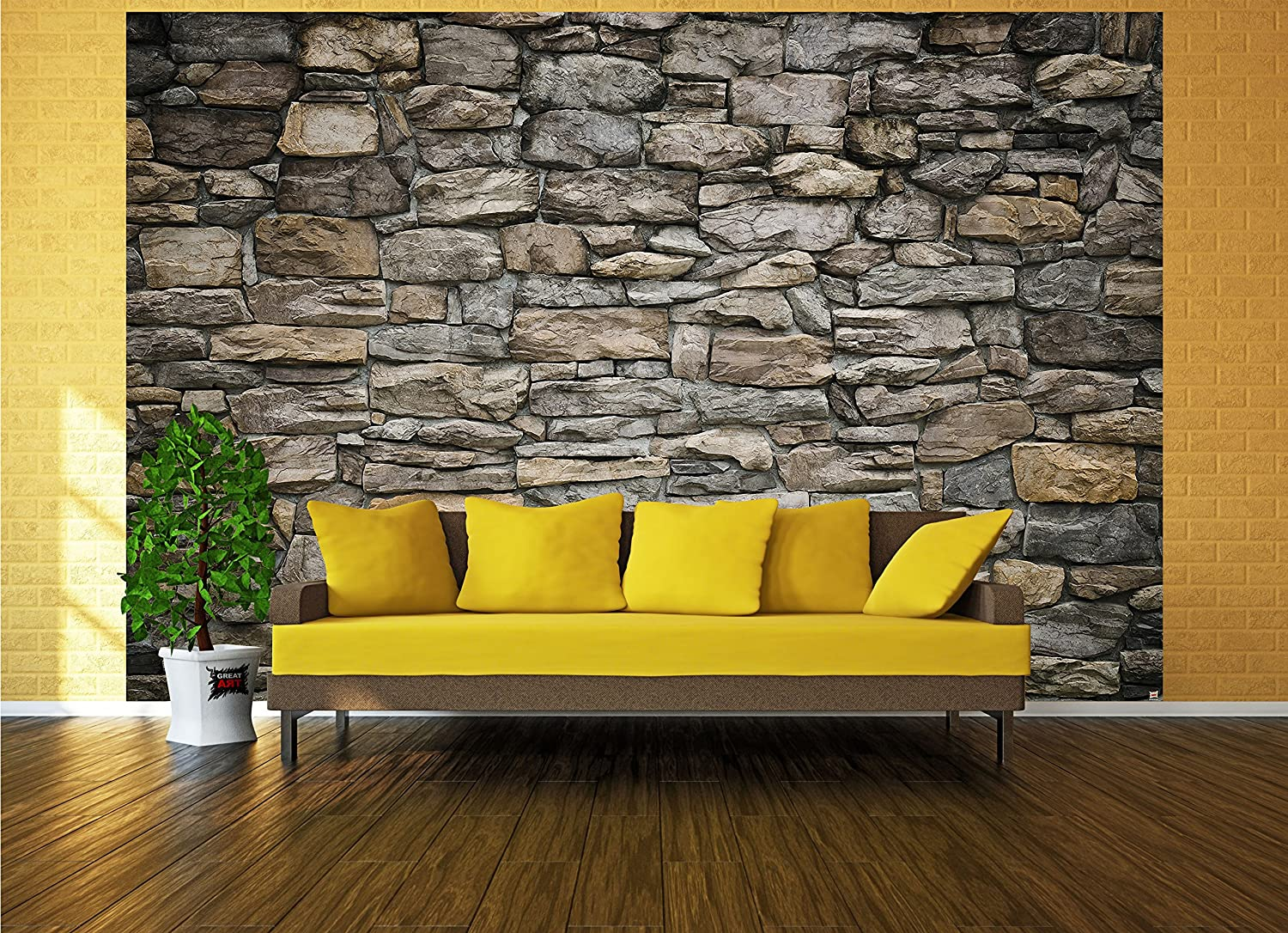 Wallpaper Grey Stonewal - wall picture decoration Wall cladding ...