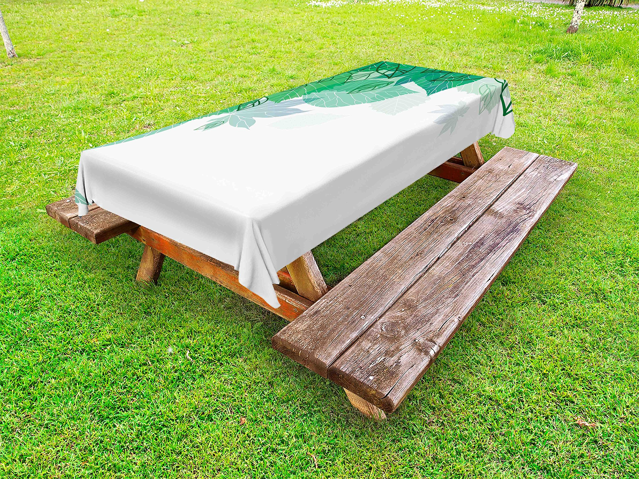 Lunarable Mint Outdoor Tablecloth, Hello Spring Theme with Tropical Leaves Field Environment Forest Nature Woods Picture, Decorative Washable Picnic Table Cloth, 58 X 104 inches, Jade Green