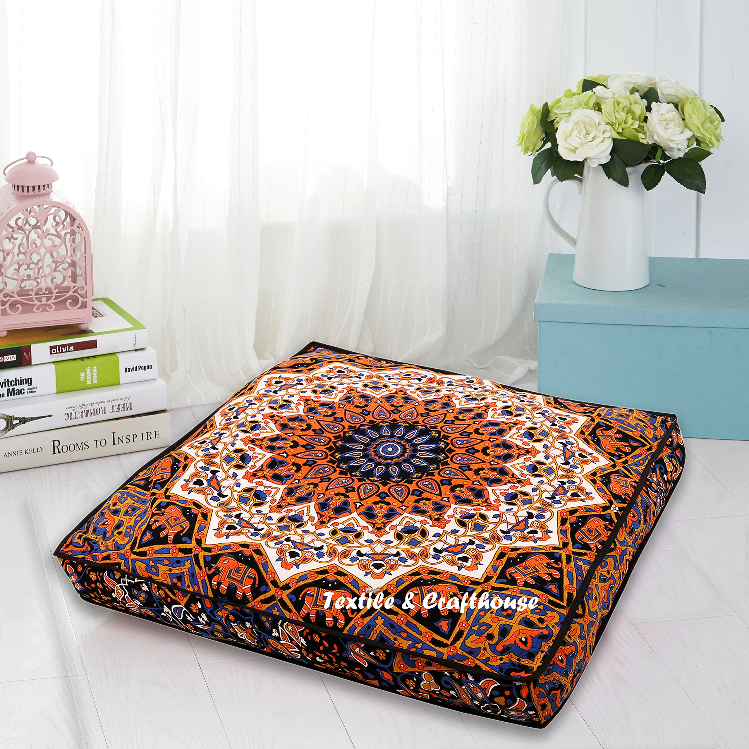 TEXTILE&CRAFT HOUSE Decorative Mandala Floor Pillow Square Cushion Cover Pouf Cover Indian Bohemian Ottoman Poufs Cover Outdoor Cushion Cover Large Dog Bed 36'' (style 4)