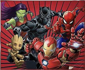 Marvel Avengers Full Assault Kids Room Rug - Large Area Rug Measures 4 x 5 Feet - Featuring Spiderman, Iron Man, Black Panther, Gamora, Groot (Offical Marvel Product)