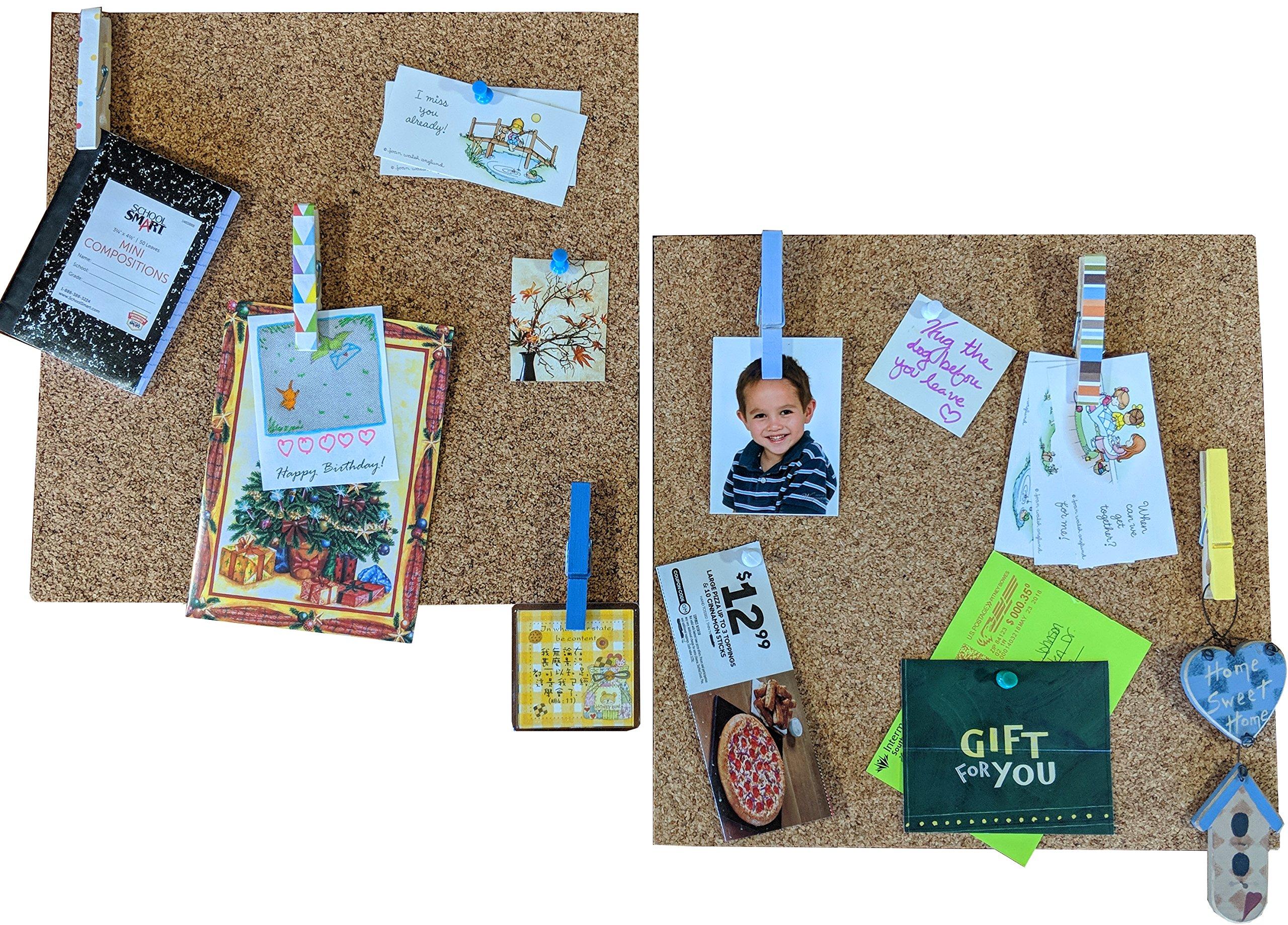 HL Enterprise Cork Tiles 12x12: Cork Board Bulletin Board Self Adhesive Backing 2 Pack w/ 6 Clothespins Pushpins