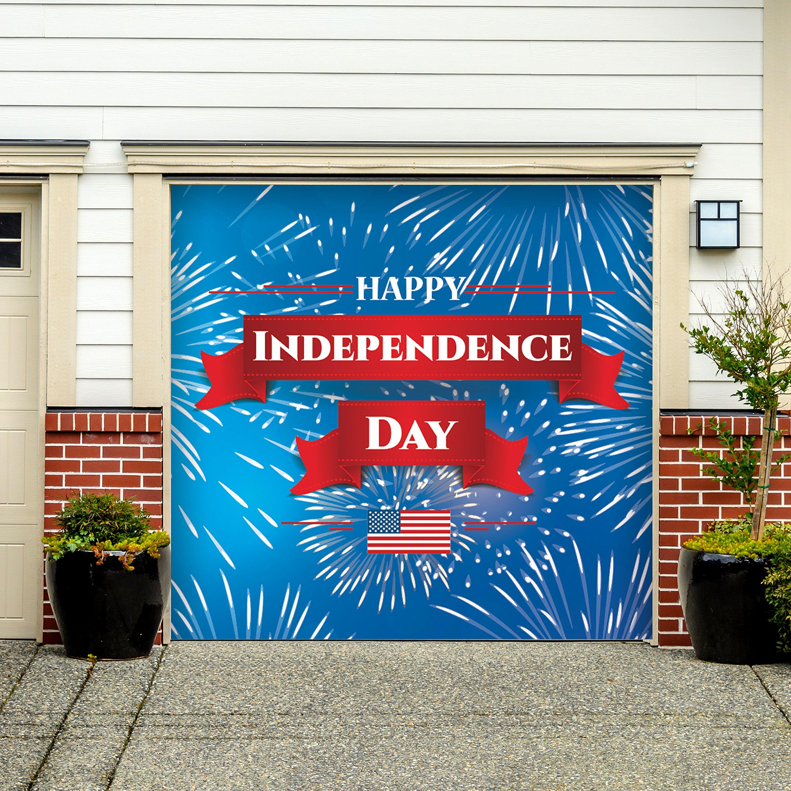 Outdoor Patriotic American Holiday Garage Door Banner Cover Mural Décoration - Fireworks Happy Independence Day - Outdoor American Holiday Garage Door Banner Décor Sign 7'x 8'