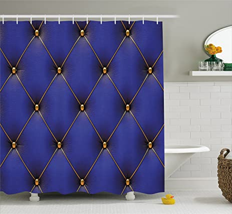 Bon Royal Blue Shower Curtain By Lunarable, Classic Retro Style Inspired Design  With Checkered Motif Antique