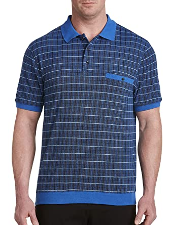 bdea7971784 Harbor Bay DXL Big and Tall Banded-Bottom Plaid Polo at Amazon Men s  Clothing store