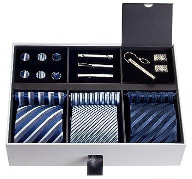 Premium Mens Gift Tie Set Luxury Silky Necktie Pocket Squares Clips Cufflinks Deluxe Box