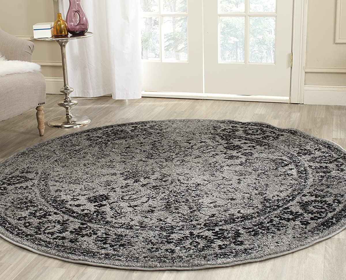 Safavieh Adirondack Collection ADR109B Grey and Black Oriental Vintage Distressed Round Area Rug (6 Diameter)