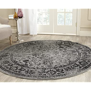 Safavieh Adirondack Collection ADR109B Grey and Black Oriental Vintage Distressed Round Area Rug (6' Diameter)