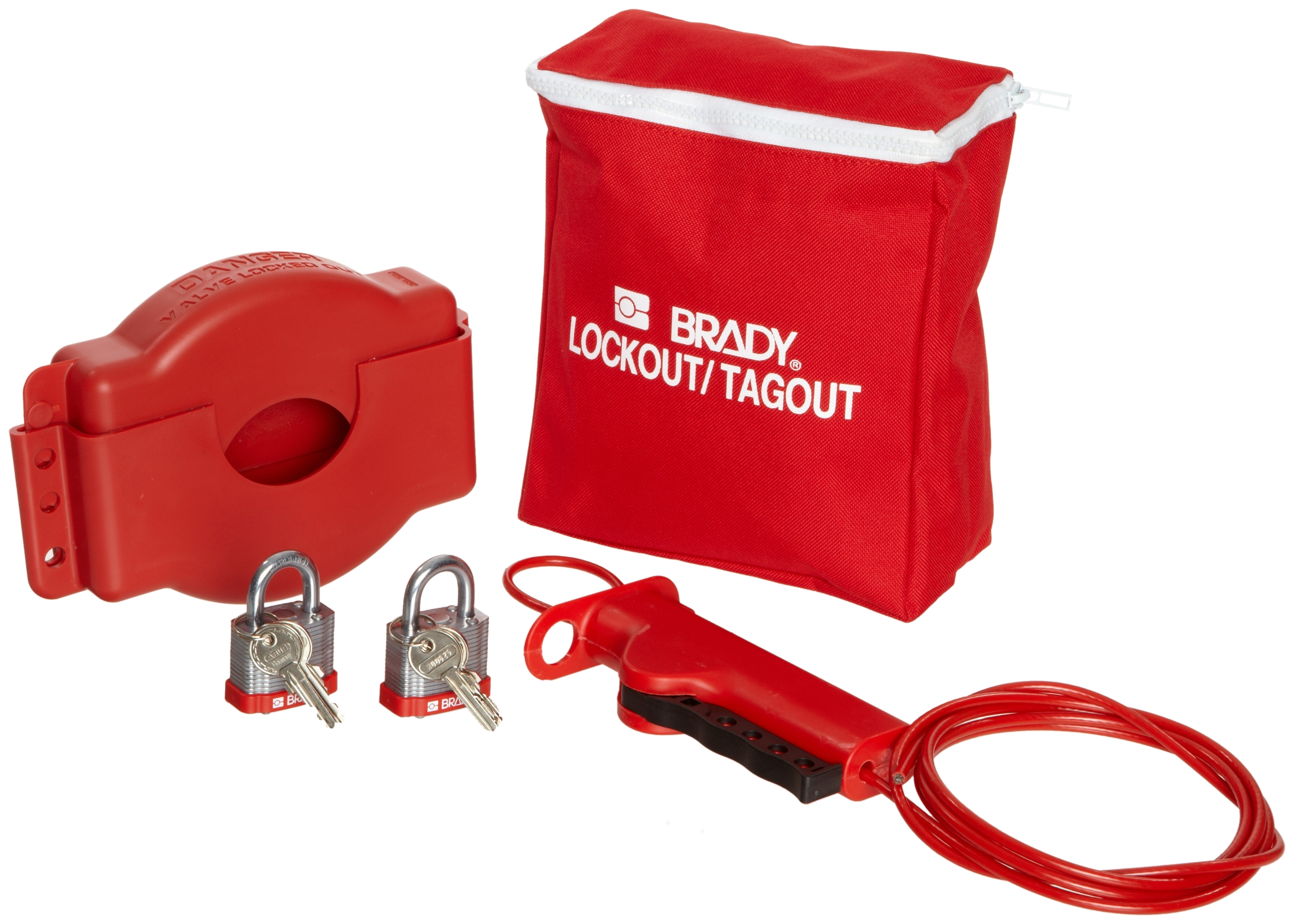 Brady Gate Valve Lockout Pouch Kit, Includes 2 Steel Padlocks and 2 Tags
