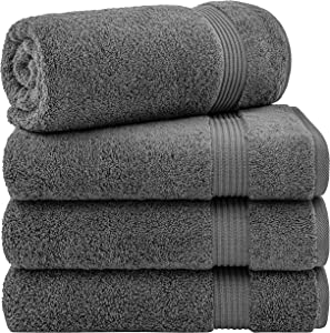 Hotel & Spa Quality 100% Turkish Genuine Cotton, Absorbent & Soft Decorative Luxury 4-Piece Bath Towel Set by United Home Textile, Charcoal Grey
