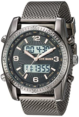 9f5e16dfc40 Amazon.com  Steve Madden Men s Stainless Steel Japanese-Quartz Watch with  Alloy Strap