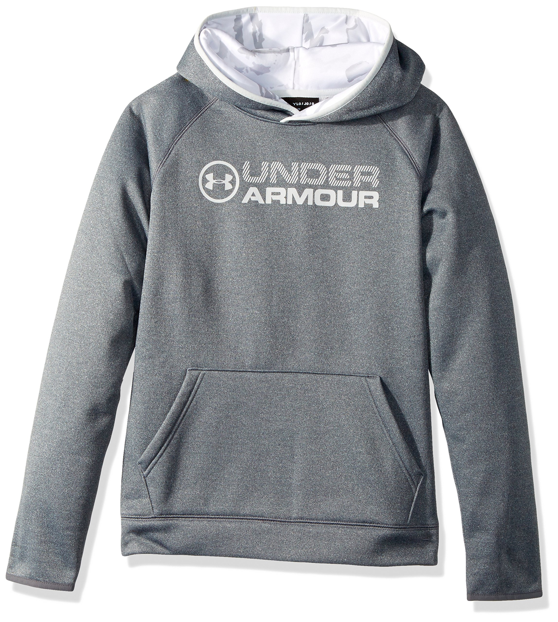Under Armour Boys' Armour Fleece Stacked Hoodie, Carbon Heather (090)/Elemental, Youth Small by Under Armour