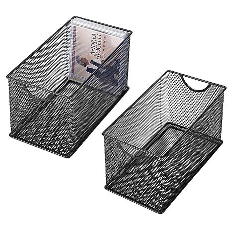 Genial Amazon.com: Black Mesh Metal CD Holder Box Organizer, Open Storage Bin, Set  Of 2: Kitchen U0026 Dining
