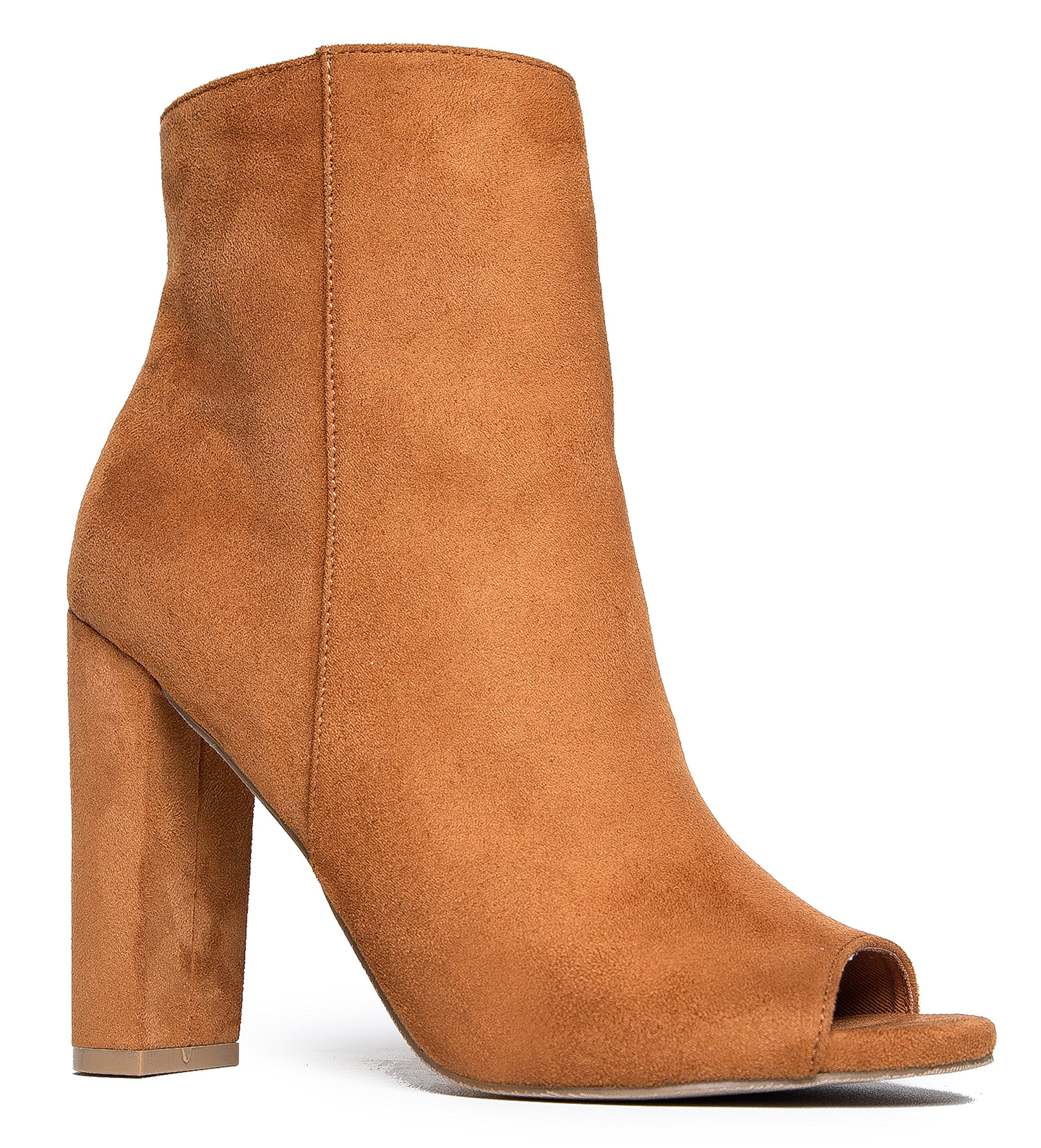J. Adams Peep Toe Ankle Bootie – Classic Sleek High Heel Boot – Essential Zip Up Chunky Heel Shoe – Savoy