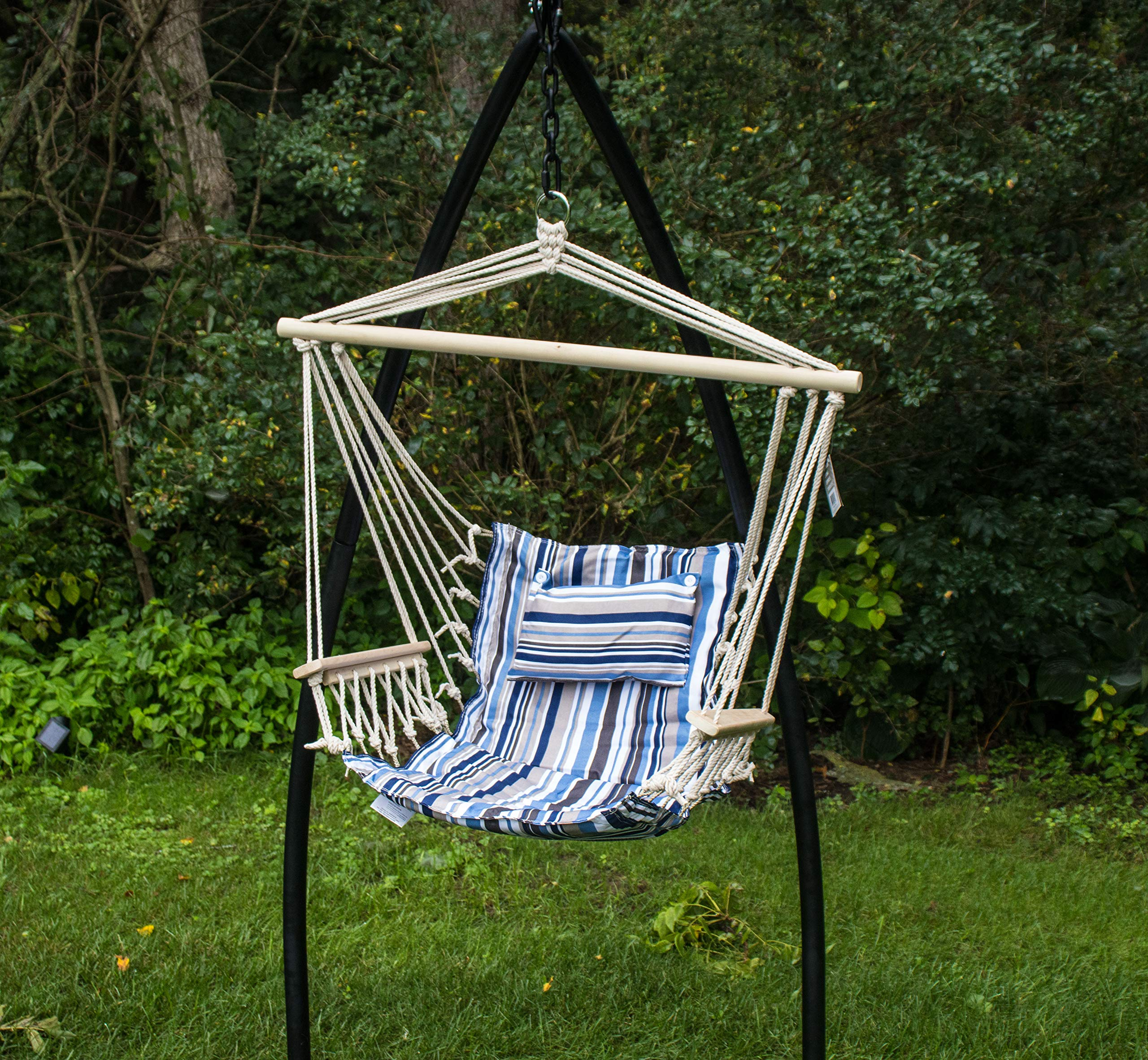BACKYARD EXPRESSIONS PATIO · HOME · GARDEN 914917 Backyard Expressions Hammock Chair and Stand, Blue Stripes
