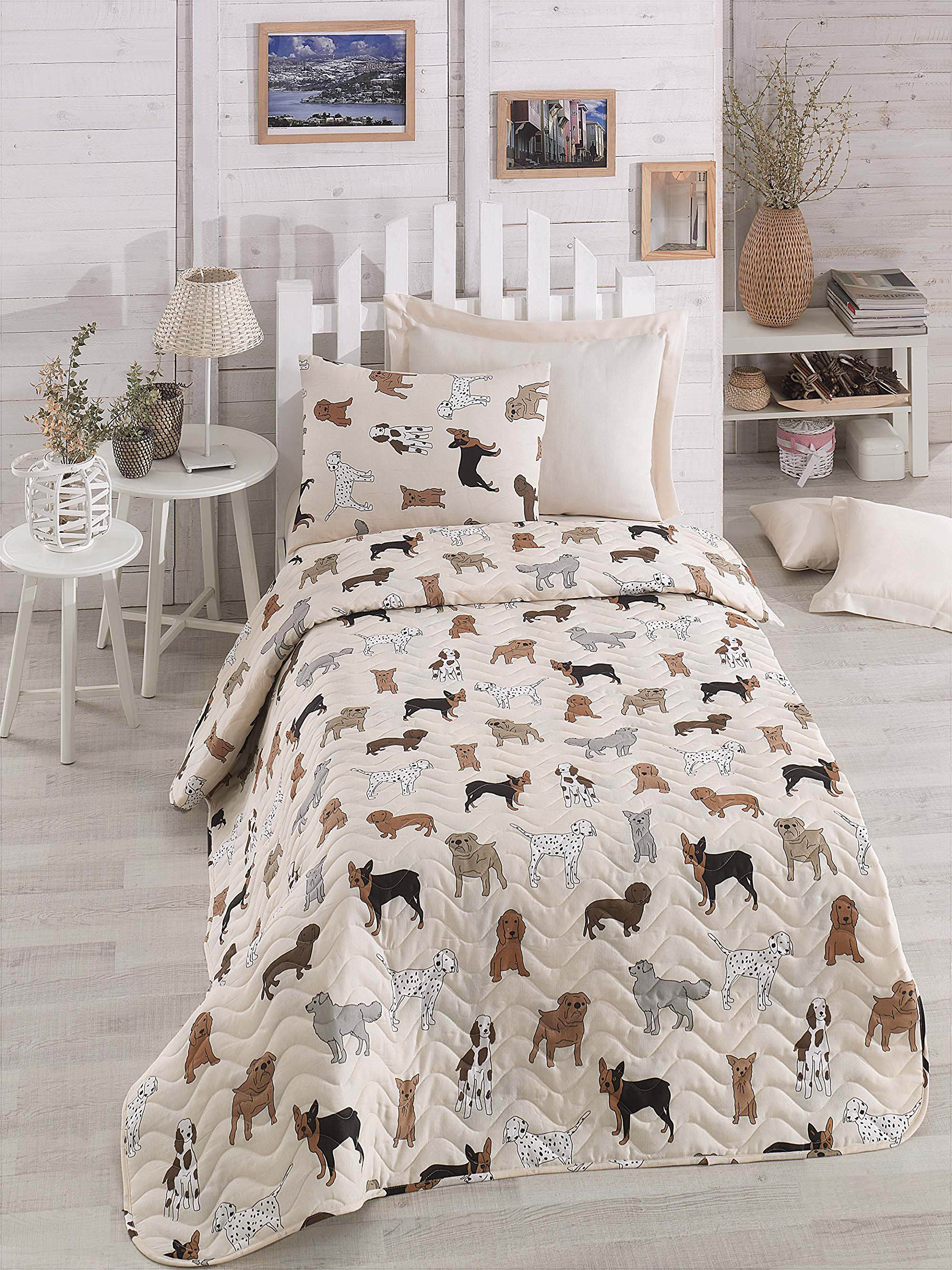 DecoMood Animals Dogs Bedding, Single/Twin Size Bedspread/Coverlet Set, Dogs Themed Girls Boys Bedding, 2 PCS,