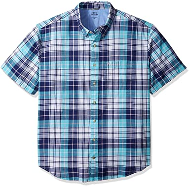 9a54ca54 IZOD Men's Big and Tall Saltwater Dockside Chambray Short Sleeve Button  Down Plaid Shirt, Blue