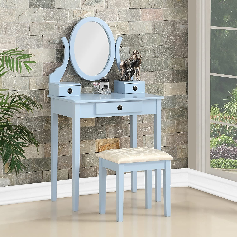 Roundhill Furniture Moniys Wood Moniya Makeup Vanity Table and Stool Set, Blue