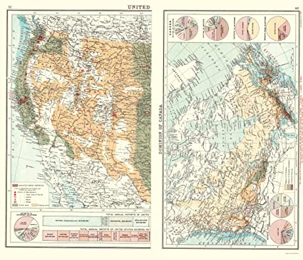 Old North America Map.Amazon Com Old North America Map Commerce Charts Canada Western