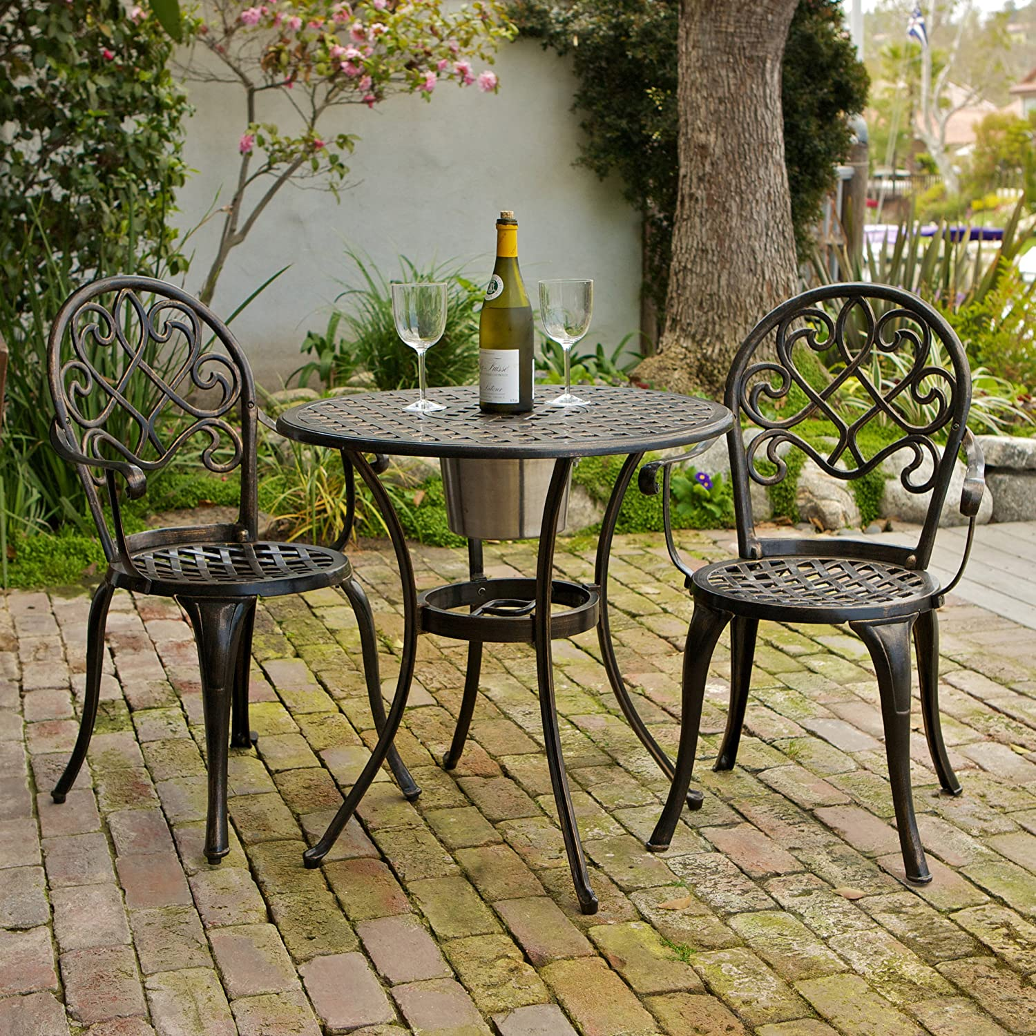 Christopher Knight Home 234795 Angeles CKH Outdoor Metal Bistro Set, Copper