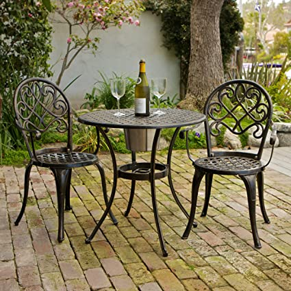 Amazon Com Palermo 3 Pcscast Aluminum Outdoor Bistro Set W Ice