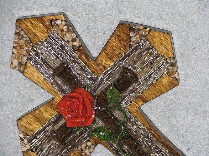 Amazon.com: decorative wall cross, Rose and Nails, home wall decor ...