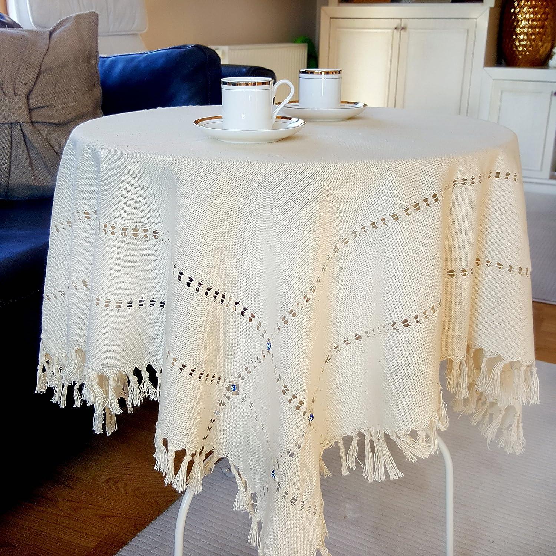 beige cuadrado Mantel tradicional hecho a mano del t/é o de la mesa de centro con 16 talism/án peque/ño del mal de ojo,/% 100 algod/ón natural 90X90cm