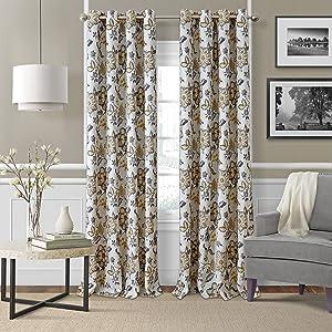 "Elrene Home Fashions Room Darkening Grommet Linen Single Panel Window Curtain Drape, 52""x84"", Gray/Gold"
