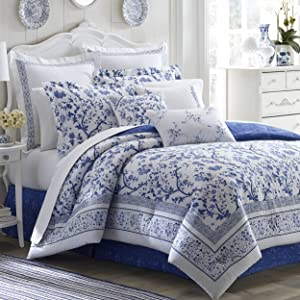 Laura Ashley Charlotte Comforter Set, Queen, Blue