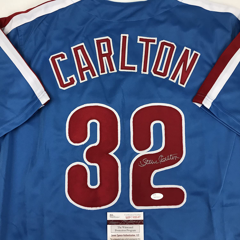 Autographed//Signed Steve Carlton Philadelphia Retro Blue Baseball Jersey JSA COA