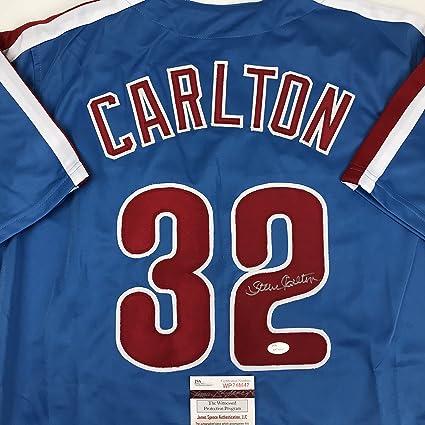 0ccc1d96f193 Autographed Signed Steve Carlton Philadelphia Retro Blue Baseball Jersey  JSA COA