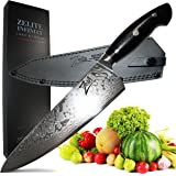 ZELITE INFINITY Chef Knife 10 Inch >> Executive-Plus Series >> Best Quality Japanese AUS10 Super Steel 45 Layer Damascus, Incredible G10 'Hump Back' Handle, Full-Tang, Ultra-Deep 60mm Chefs Blade