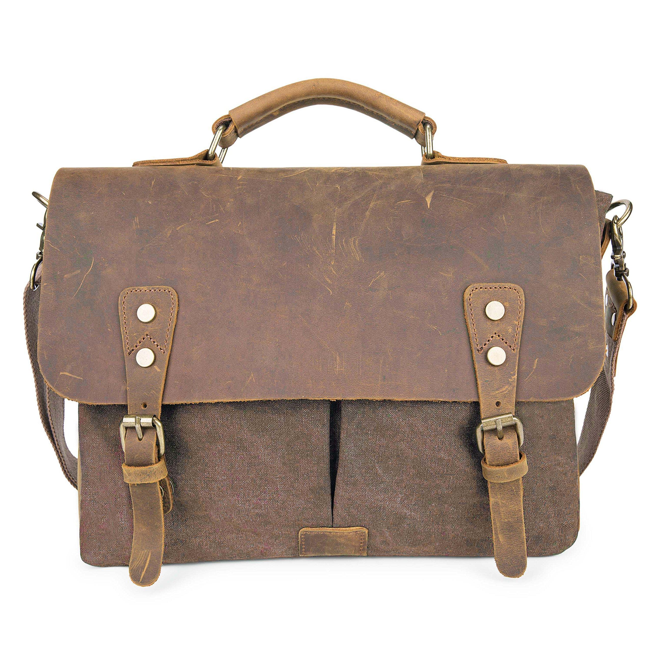 UBORSE Vintage Canvas Messenger Bag Leather Laptop Briefcase Shoulder Handle Bag for Men, Coffee