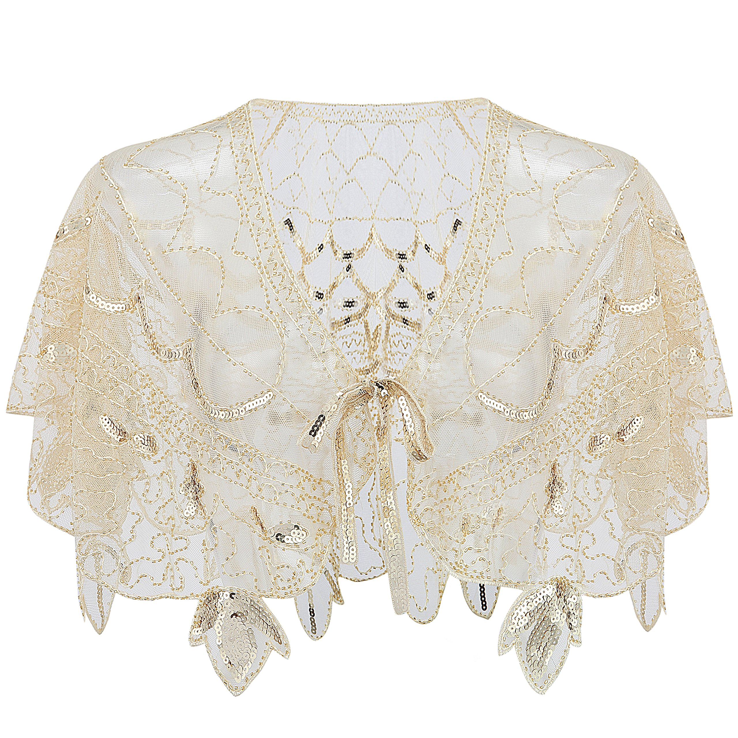 BABEYOND 1920s Shawl Wraps Beaded Evening Cape Bolero Bridal Shawl for Evening Dresses Wedding Party (Z-Beige) by BABEYOND