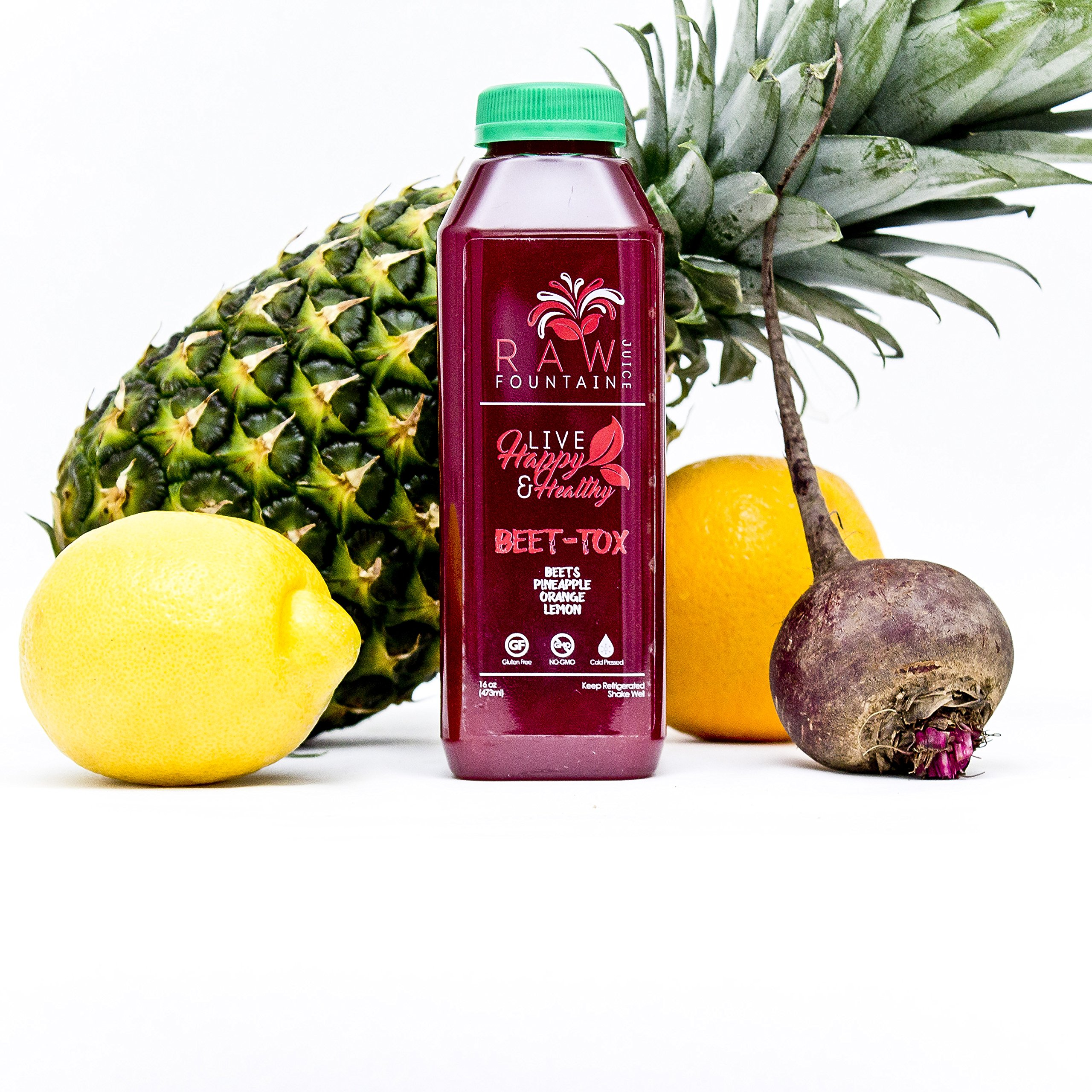 7 Day Juice Cleanse by Raw Fountain Juice - 100% Fresh Natural Organic Raw Vegetable & Fruit Juices - Detox Your Body in a Healthy & Tasty Way! - 42 Bottles (16 fl oz) + 7 BONUS Ginger Shots by Raw Threads (Image #4)
