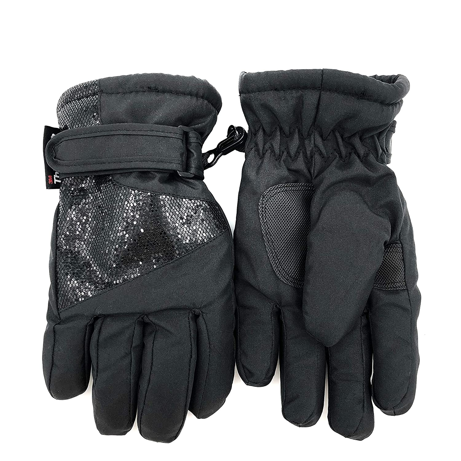 accsa Outdoor Kids Girl Breathable 3M Thinsulate Black Cute Glitter Ski Glove with Water Proof Fleece Lined Age 3-6