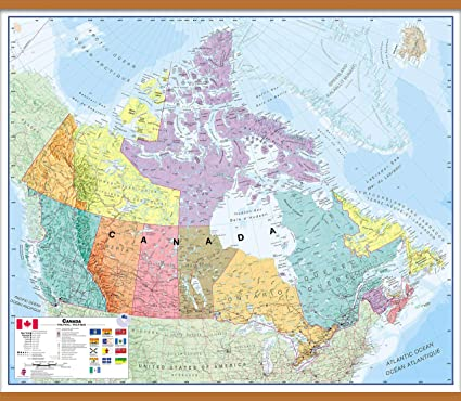 Map Of Canada With All Cities.Amazon Com Maps International Large Political Canada Wall Map