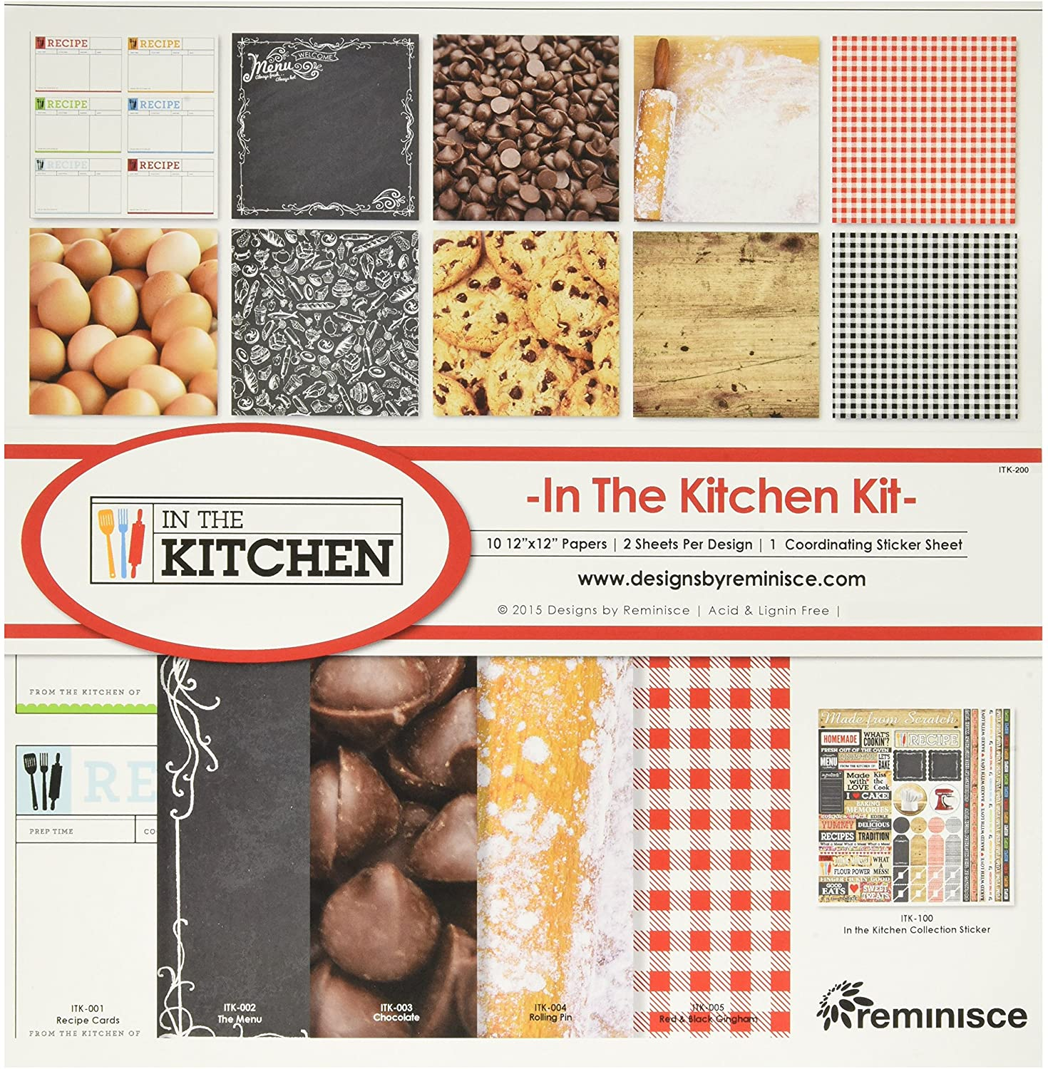 10 1 12x12 Papers 12x12 Sticker Sheet Reminisce IN THE KITCHEN Scrapbook Kit