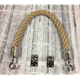 RopeServices UK 32mm Natural Barrier Rope x 2 Metre Length C/W Chrome Hook & Eye plates
