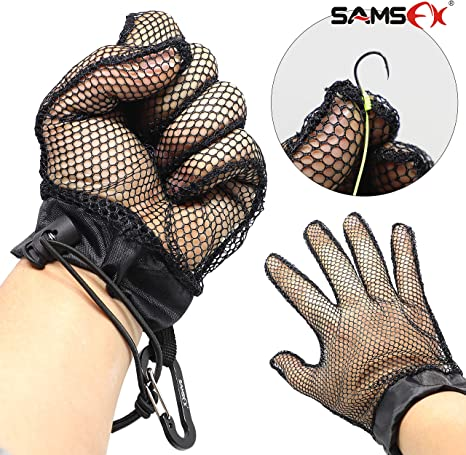 SAMSFX Fishing Fish Catching Gloves Openwork Anti-Slip Fish Protection Tailer Landing Glove with Carabiner Clip