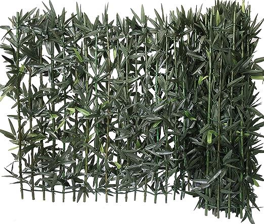 Euro Castor Green Seto de bambú sobre Soporte rígido de bambú Natural, ocultación Fuerte, Seto Artificial PVC, Color Verde 300 x 12 x 100 cm: Amazon.es: Jardín