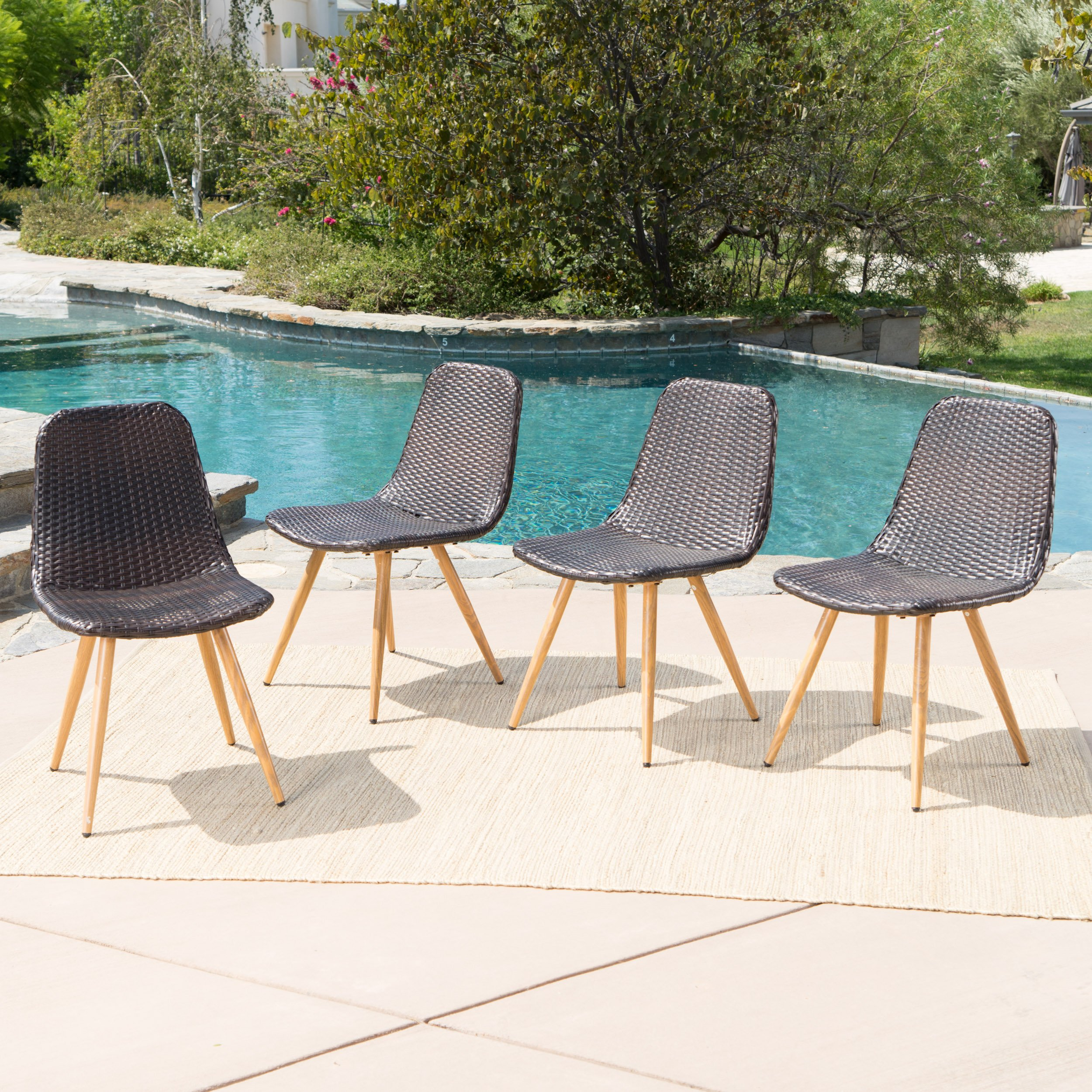 Gilda Outdoor Multi-Brown Wicker Dining Chairs with Light Brown Wood Finished Metal Legs (Set of 4)