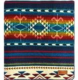 "Ecuadane Large Southwestern Artisan Blanket, Handmade in Ecuador, Size 82"" x 93"" - Color Cotachachi Water"