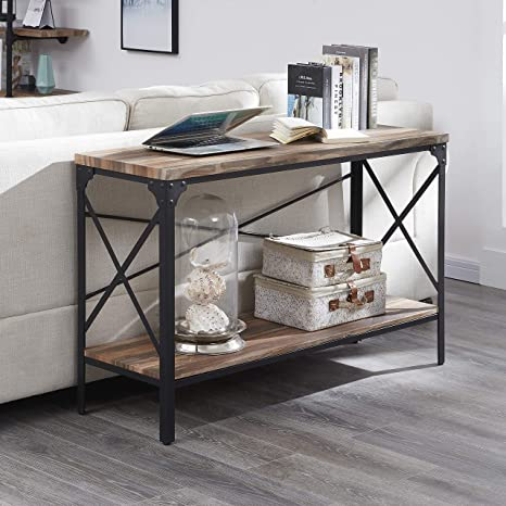 Excellent Homissue 2 Shelf Industrial Vintage Hall Sofa Table Console Sofa Entryway Table With Lower Storage Shelf Brown Finish 1 Pc Inzonedesignstudio Interior Chair Design Inzonedesignstudiocom