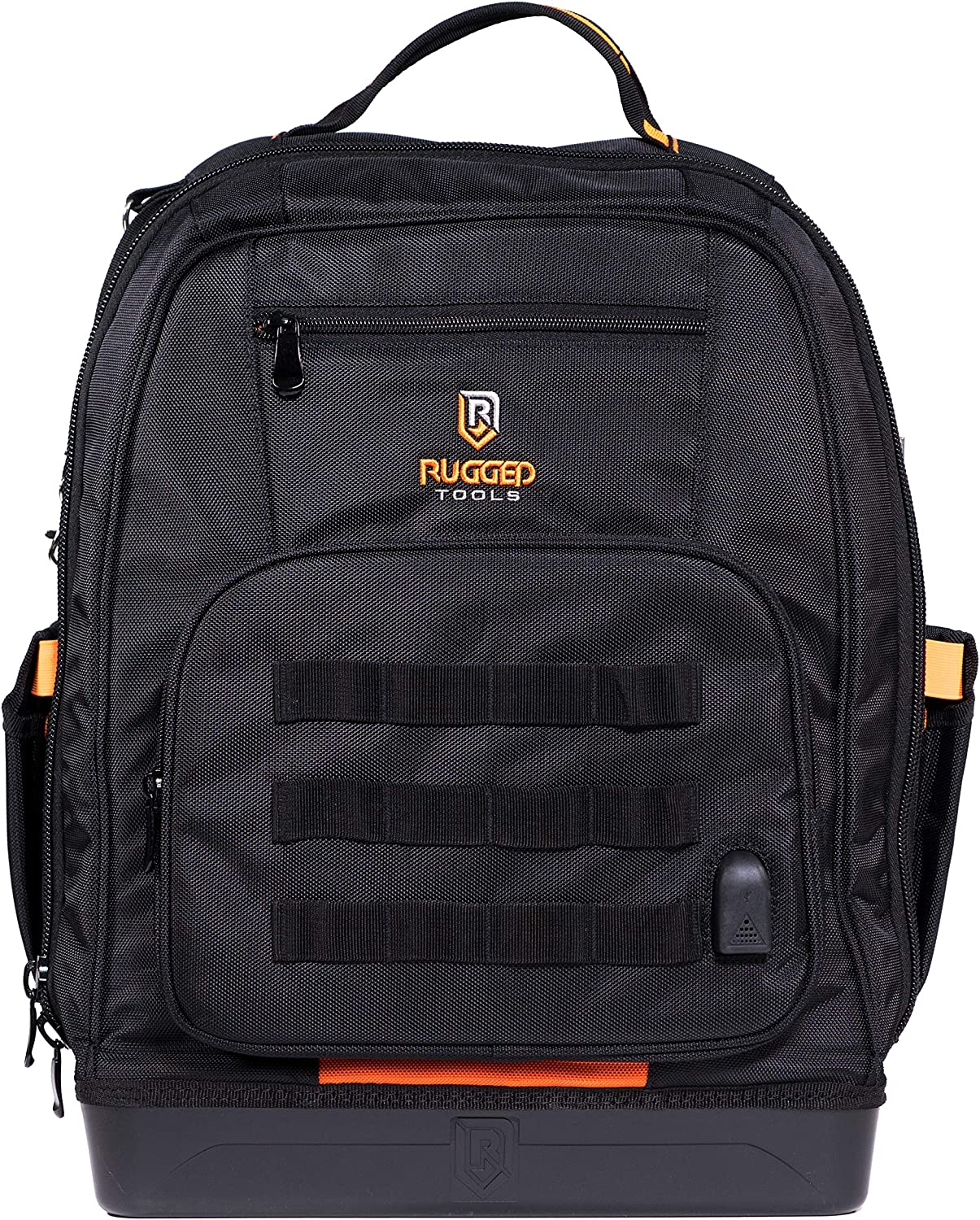 Rugged Tools Worksite Tool Backpack - 68 Pockets & Utility Organizers Including Laptop Sleeve